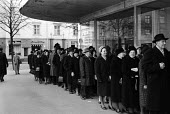 Finland 1963 Churchgoers queueing on a Sunday morning to attend a newly built church designed by architect Aarne Ervi in the post war reconstruction plan - Romano Cagnoni - 12-05-1963
