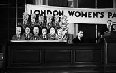 Caricacatures of the upper class, Women's Parliament meeting, London,1947, debating price increases and inflation affecting British households - Felix H. Man - 19-04-1947