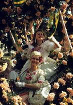 Women on a float festooned with flowers, annual Nice Carnival France 1948 - Felix H. Man - 08-02-1948