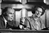 Francois Mitterand and Margaret Thatcher press conference, London 1983 - NLA - 1980s,1983,conference,conferences,CONSERVATIVE,Conservative Party,conservatives,France,Francois Mitterand,French,London,Margaret Thatcher,POL,political,POLITICIAN,POLITICIANS,Politics,SP