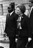 Margaret Thatcher and Pres Samora Machel of Mozambique, London 1983. Machel was one of the revolutionary leaders in the fight for independence against Portugal and was elected president after the vict... - Peter Arkell - 1980s,1983,African,Africans,against,CONSERVATIVE,Conservative Party,conservatives,FRELIMO,independence,London,Margaret Thatcher,Mozambique,Mozambique Liberation Front,POL,political,POLITICIAN,POLITICI