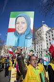 Iranians protest for exiled Maryam Rajavi (MEK) and against violence against women in Iran, Westminster, London - Jess Hurd - 09-03-2019