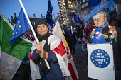 Pro EU campaigners protest outside Parliament during votes on how the UK leaves the European Union, Westminster, London - Jess Hurd - 2010s,2019,activist,activists,against,age,ageing population,Brexit,CAMPAIGN,campaigners,CAMPAIGNING,CAMPAIGNS,deal,DEMONSTRATING,Demonstration,DEMONSTRATIONS,elderly,EU,European Union,FEMALE,flag,flag