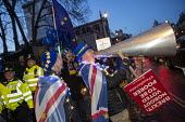 Steve Bray anti Brexit protestor shouting No Brexit! down a megaphone as Pro EU campaigners protest outside Parliament during votes on how the UK leaves the European Union, Westminster, London - Jess Hurd - 12-03-2019