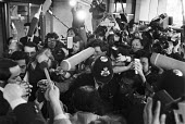 Delegates and press scrum, OPEC meeting, London 1983. 67th extraordinary meeting of the Conference of the Organization of Petroleum Exporting Countries agreed to lower the price of oil - NLA - 14-03-1983