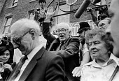 Michael Foot 1983 General Election leaving Labour Party HQ after defeat, Walworth Road, South London - NLA - 10-06-1983
