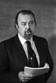 Sir Peter Hall director of the National Theatre 1985 explaining the need for cuts at the theatre - NLA - 1980s,1985,ACE,adult,adults,Arts,Culture,cuts,director,directors,explaining,London,male,man,men,National Theatre,people,person,persons,Peter Hall,Sir Peter Hall,SPEAKER,SPEAKERS,speaking,speech,theatr