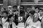 Lenny Henry promoting Chasing the Bandwagon London 1985, a YMCA educational film on drug abuse in which he stars aimed at those most at risk teenagers - NLA - 1980s,1985,abuse,ACTING,actor,actors,addiction,adolescence,adolescent,adolescents,BAME,BAMEs,Black,Black and White,BME,bmes,Boulton Hawker Films,boy,boys,campaign,campaigning,CAMPAIGNS,Chasing,Chasing