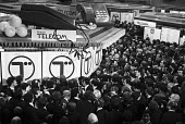 Privatisation of BT, London Stock Exchange 1983. Excitement on the floor as BT is floated and privatised - Peter Arkell - 03-12-1983