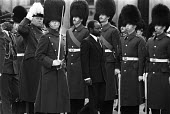 President Samora Machel of Mozambique inspecting the Guard of Honour, Foreign Office, London 1983 visiting to the UK for talks with the government. He was one of the revolutionary leaders in the fight... - Peter Arkell - 1980s,1983,African,Africans,against,army,British Household Division,ceremonial,ceremonies,ceremony,crash,Foreign,foreigner,foreigners,Frelimo,Guard,Guard of Honour,independence,international,London,ma