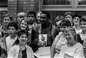 Lenny Henry promoting Chasing the Bandwagon London 1985, a YMCA educational film on drug abuse in which he stars aimed at those most at risk teenagers - Peter Arkell - 1980s,1985,abuse,ACTING,actor,actors,addiction,adolescence,adolescent,adolescents,BAME,BAMEs,Black,Black and White,BME,bmes,Boulton Hawker Films,boy,boys,campaign,campaigning,CAMPAIGNS,Chasing,Chasing