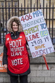 Pro Brexit campaigners protesting outside Parliament during votes on how the UK leaves the European Union, Westminster, London. - Jess Hurd - 14-03-2019