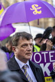 Gerard Batten UKIP MEP being interviewed by the press outside Parliament during votes on how the UK leaves the European Union, Westminster, London. - Jess Hurd - 14-03-2019