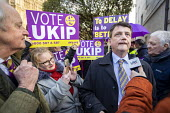 Gerard Batten UKIP MEP giving interviews to the press outside Parliament during votes on how the UK leaves the European Union, Westminster, London. - Jess Hurd - 14-03-2019