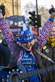 Pro EU campaigner is heckled, jeered and thrown money by UKIP supporters, outside Parliament during votes on how the UK leaves the European Union, Westminster, London. Sheffield musician Madeleina Kay - Jess Hurd - 2010s,2019,activist,activists,against,Brexit,campaign,campaigning,CAMPAIGNS,DEMONSTRATING,demonstration,EU,European Union,eurosceptic,Euroscepticism,eurosceptics,FEMALE,flag,flags,guitar,guitars,leave