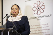 Rushanara Ali MP speaking, faith leaders and politicians condemning Islamophobia after the New Zealand Mosque terrorist attacks, East London Mosque, Tower Hamlets, East London. - Jess Hurd - 15-03-2019