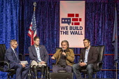 Detroit, Michigan, USA: We Build the Wall Rally, Steve Bannon speaking to promote construction of a Mexican border wall. Kris Kobach (R), Brian Kolfage (L) who started a Go-FundMe page to raise funds... - Jim West - 2010s,2019,America,american,americans,barrier,bigotry,border,border control,border controls,border fence,border wall,borders,Brian Kolfage,build the wall,Detroit,Diaspora,DISCRIMINATION,Far Right,Far