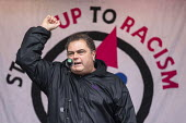 Manuel Cortez TSSA speaking Stand Up to Racism march and rally, London. UN Anti Racism Day - Jess Hurd - 16-03-2019