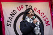 Diane Abbott MP speaking Stand Up to Racism march and rally, London. UN Anti Racism Day - Jess Hurd - 2010s,2019,activist,activists,against,Anti Racism,anti racist,BAME,BAMEs,banner,banners,bigotry,Black,BME,bmes,CAMPAIGNING,CAMPAIGNS,DEMONSTRATING,Demonstration,DEMONSTRATIONS,Diane Abbott,DISCRIMINAT