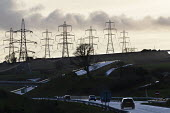 Electricity pylons and a dual carriageway, Pembrokeshire, Wales - John Harris - 17-03-2019