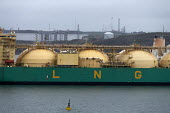 LNG Rivers tanker, South Hook LNG, Milford Haven, Pembrokeshire, Wales - John Harris - 2010s,2019,boat,boats,capitalism,capitalist,cargo,distributing,distribution,Dragon LNG,EBF,Economic,Economy,energy,fossil fuels,fridge,fridges,frozen,gas,harbor,harbors,harbour,harbours,import,IMPORTE