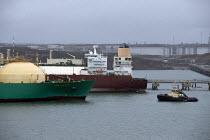 LNG Rivers tanker, South Hook LNG, Milford Haven, Pembrokeshire, Wales - John Harris - 18-03-2019