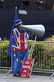 Steve Bray anti Brexit protestor shouting No Brexit! down a megaphone as pro Leave MPs are interviewed on TV, Parliament, College Green, Westminster, London. In his daily protest he is often heard dur... - David Mansell - 2010s,2019,activist,activists,against,Brexit,CAMPAIGNING,CAMPAIGNS,College,COLLEGES,communicating,communication,costume,costumes,DEMONSTRATING,Demonstration,dressed up,dressing up,EU,European Union,fa