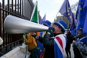 Steve Bray anti Brexit protestor shouting No Brexit! down a megaphone as pro Leave MPs are interviewed on TV. In his daily protest he is often heard during TV broadcasts and is known as Mr. Stop Brexi... - David Mansell - 26-03-2019