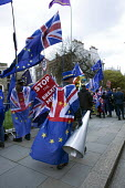 Steve Bray anti Brexit protest, Parliament, Westminster, London - David Mansell - 2010s,2019,activist,activists,against,Brexit,CAMPAIGNING,CAMPAIGNS,costume,costumes,DEMONSTRATING,Demonstration,dressed up,dressing up,EU,European Union,fancy dress,flag,flags,hat,hats,Houses of Parli