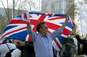 Pro Brexit protests on the day the UK was meant to leave the EU, Westminster, London - David Mansell - 2010s,2019,Brexit,campaign,campaigning,CAMPAIGNS,EU,European Union,Far Right,Far Right,flag,flags,Leave,London,nationalism,parliament,rightwing,Union Jack,Westminster