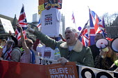 Pro Brexit protests on the day the UK was meant to leave the EU, Parliament Square, Westminster, London - David Mansell - 2010s,2019,Brexit,campaign,campaigning,CAMPAIGNS,EU,European Union,Far Right,Far Right,flag,flags,Leave,London,nationalism,parliament,rightwing,shout,shouting,Union Jack,Westminster