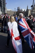 Pro Brexit protests on the day the UK was meant to leave the EU, Parliament Square, Westminster, London - David Mansell - 2010s,2019,Brexit,campaign,campaigning,CAMPAIGNS,EU,European Union,Far Right,Far Right,flag,flags,Leave,London,nationalism,parliament,rightwing,St George's flag,Union Jack,Westminster