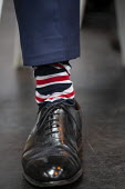 Nigel Farage Union Jack socks, Brexit Party launch, Coventry European Parliament elections campaign - John Harris - 2010s,2019,Brexit,campaign,campaigning,CAMPAIGNS,Coventry,DEMOCRACY,ELECTION,elections,EU,European Union,Far Right,Far Right,flag,flags,launch,Leave,male,man,men,nationalism,Nigel Farage,Parliament,Pa