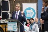 Brexit Party launch, Coventry, Nigel Farage speaking (R) Annunziata Rees-Mogg. European Parliament elections campaign - John Harris - 2010s,2019,Brexit,campaign,campaigning,CAMPAIGNS,candidate,candidates,Coventry,DEMOCRACY,ELECTION,elections,EU,European Union,Far Right,Far Right,FEMALE,launch,Leave,male,man,men,nationalism,Nigel Far