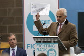 Ben Habib speaking, Brexit Party launch, Coventry, Nigel Farage (L) European Parliament elections campaign - John Harris - 2010s,2019,Asian,Asians,BAME,BAMEs,Ben Habib,Black,BME,bmes,Brexit,campaign,campaigning,CAMPAIGNS,candidate,candidates,Coventry,DEMOCRACY,diversity,ELECTION,elections,ethnic,ethnicity,EU,European Unio