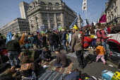 Extinction Rebellion protest, Oxford Circus against lack of government action on climate change. Nonviolent direct action simultaneous blocking London. - Jess Hurd - 15-04-2019