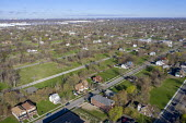Detroit, Michigan, USA, Depopulation. Huge sections of vacant land in many Detroit neighborhoods. The city's population has fallen from 1.86 million in 1950 to an estimated 673,000 in 2017 - Jim West - 24-04-2019