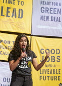 Detroit, Michigan, USA, Varshini Prakash, Sunrise Movement, speaking during the Green New Deal Tour. The Sunrise Movement is a youth led organization campaigning on climate change - Jim West - 2010s,2019,activist,activists,against,american,americans,BAME,BAMEs,Black,BME,bmes,CAMPAIGN,campaigning,CAMPAIGNS,climate,climate change,dawn,dawning,day,daybreak,DEMONSTRATING,Demonstration,Detroit,d