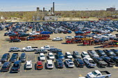 Detroit, Michigan, USA, Fiat Chrysler vehicles awaiting transport, Cassens Transport, Connor Yard. The yard is adjacent to the FCA Jefferson North Assembly Plant - Jim West - 22-04-2019
