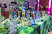 Mt. Pleasant, Michigan, USA, Bongs, 420 Canna Expo, a trade show for companies selling goods and services for the medical and recreational marijuana industry. Michigan legalized recreational marijuana... - Jim West - 2010s,2019,420 Canna Expo,America,american,americans,bong,bongs,business,cannabis,Cannabis Trade Show,device,devices,drug,drugs,EBF,Economic,Economy,exhibitor,legal marijuana,legalise cannabis,marijua