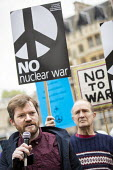 Ian Chamberlain, CND speaking, CND Anti nuclear war protest Westminster Abbey, London. 500 people took part in a CND protest and Christian CND vigil outside Westminster Abbey to oppose a thanksgiving... - Jess Hurd - 03-05-2019