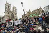 Die in, CND Anti nuclear war protest Westminster Abbey, London. 500 people took part in a CND protest and Christian CND vigil outside Westminster Abbey to oppose a thanksgiving service to mark 50 year... - Jess Hurd - 03-05-2019