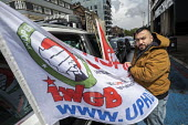 Uber drivers strike for £2 a mile, reduced commission, rights at work and no unfair dismissals, as Uber issue their IPO, Uber office, Whitechapel, East London - Jess Hurd - 08-05-2019