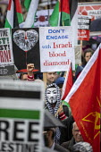 National Demonstration for Palestine, London - Jess Hurd - 2010s,2019,activist,activists,against,CAMPAIGNING,CAMPAIGNS,DEMONSTRATING,Demonstration,London,masked,masks,Palestine,Palestine Solidarity Campaign,placard,placards,Protest,PROTESTER,PROTESTERS,protes