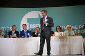 Nigel Farage speaking, Brexit Party rally, Willenhall, Wolverhampton. (L to R) Rupert Lowe, Martin Daubney, Andrew Kerr, Vishal Khatri, Laura Kevehazi, Katharine Harborne - John Harris - 2010s,2019,Brexit,Brexit Party,campaign,campaigning,CAMPAIGNS,candidate,candidates,DEMOCRACY,election,elections,EU,European Parliament election,European Union,far right,far right,Leave,mep,meps,nation