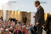 Nigel Farage speaking, Brexit Party rally, Willenhall, Wolverhampton - John Harris - 2010s,2019,audience,AUDIENCES,Brexit,Brexit Party,campaign,campaigning,CAMPAIGNS,DEMOCRACY,election,elections,EU,European Parliament election,European Union,far right,far right,Leave,mep,meps,national