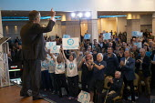 Nigel Farage speaking, Brexit Party rally, Willenhall, Wolverhampton - John Harris - 2010s,2019,age,ageing population,audience,AUDIENCES,Brexit,Brexit Party,campaign,campaigning,CAMPAIGNS,DEMOCRACY,elderly,election,elections,EU,European Parliament election,European Union,far right,far