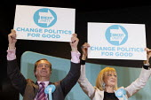 Nigel Farage, Nikki Page, Brexit Party rally, Willenhall, Wolverhampton - John Harris - 2010s,2019,Brexit,Brexit Party,campaign,campaigning,CAMPAIGNS,DEMOCRACY,election,elections,EU,European Parliament election,European Union,far right,far right,Leave,mep,meps,nationalism,nationalist,nat