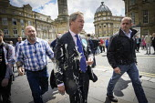 Nigel Farage, Brexit Party, after a milkshake was thrown at him, Newcastle Upon Tyne, European parliament elections campaign - Mark Pinder - 20-05-2019