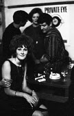 Customers drinking, The Establishment Club, London 1961. The Establishment Club was created by Peter Cook and Nicholas Luard in Greek Street, the West End of London with a fare of biting satire aimed... - Romano Cagnoni - 17-11-1961